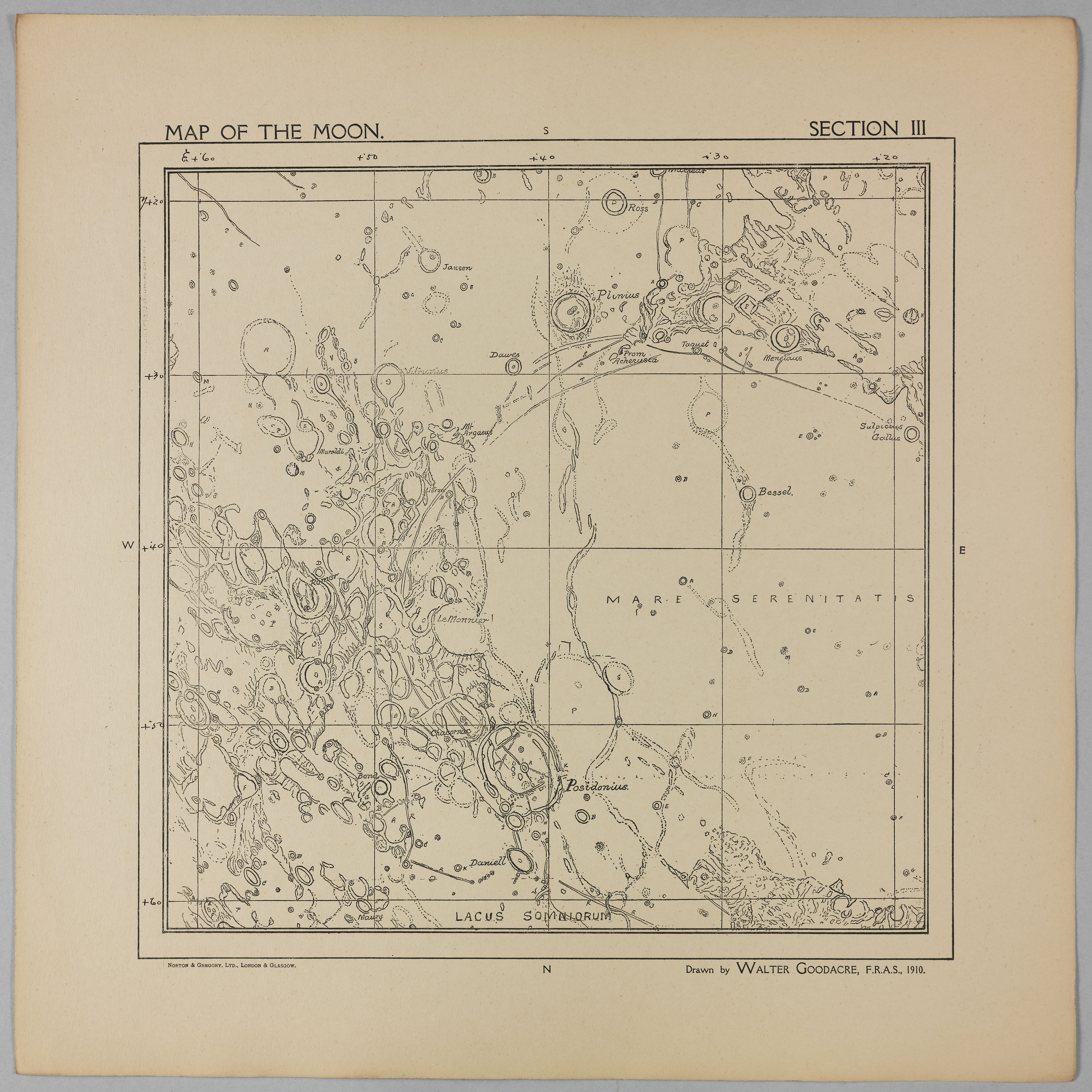 Goodacre's 1910 Map of the Moon: Section 3