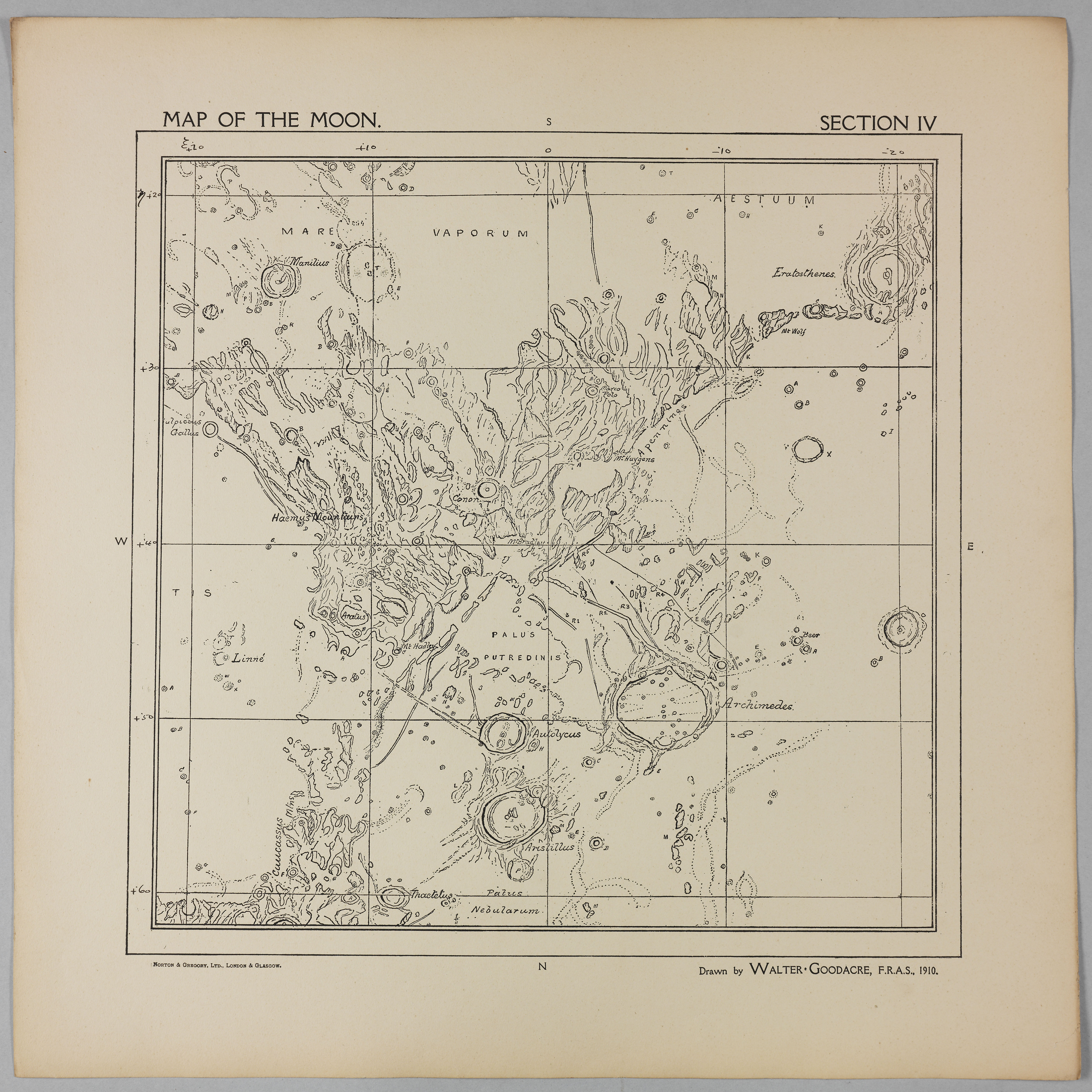 Goodacre's 1910 Map of the Moon: Section 4
