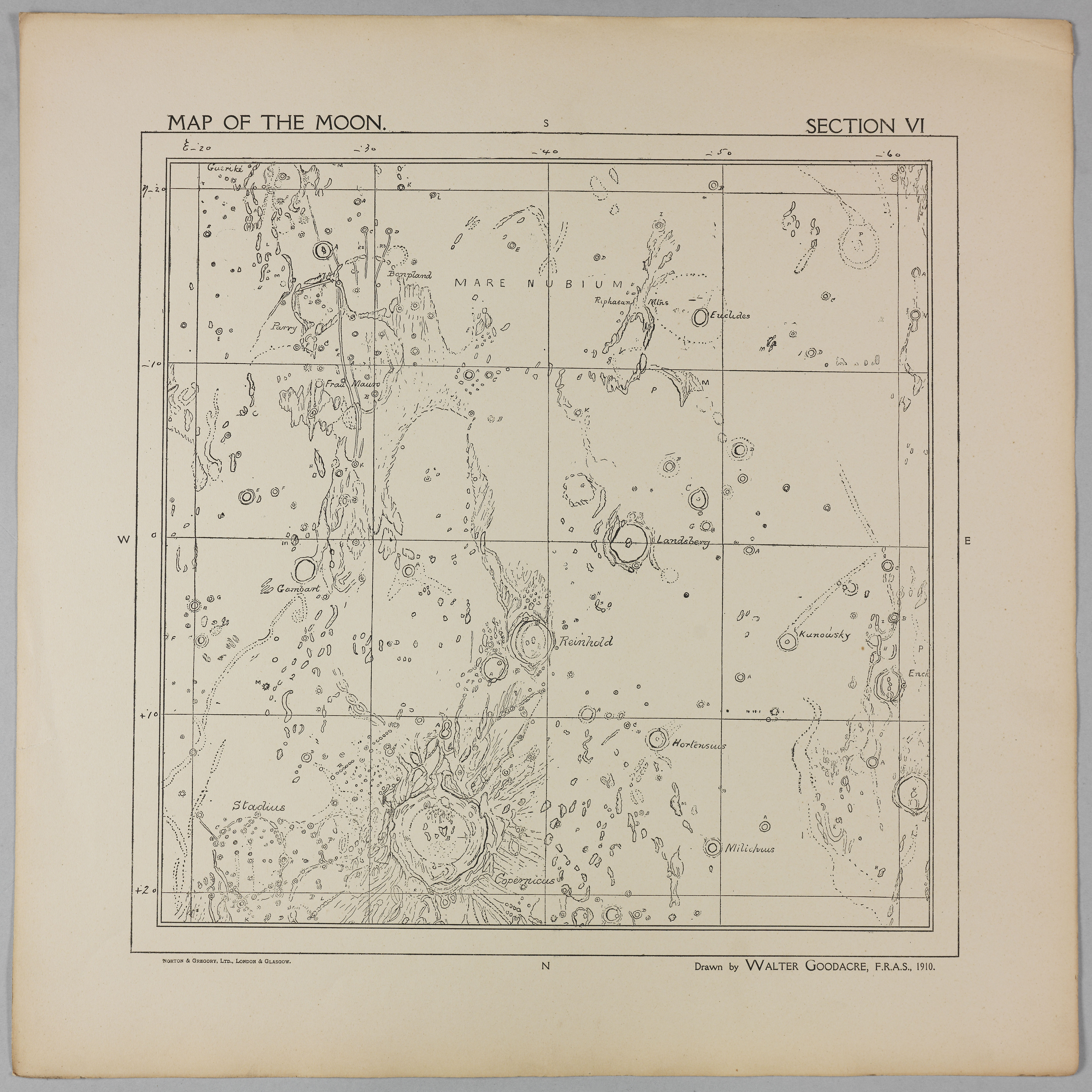 Goodacre's 1910 Map of the Moon: Section 6