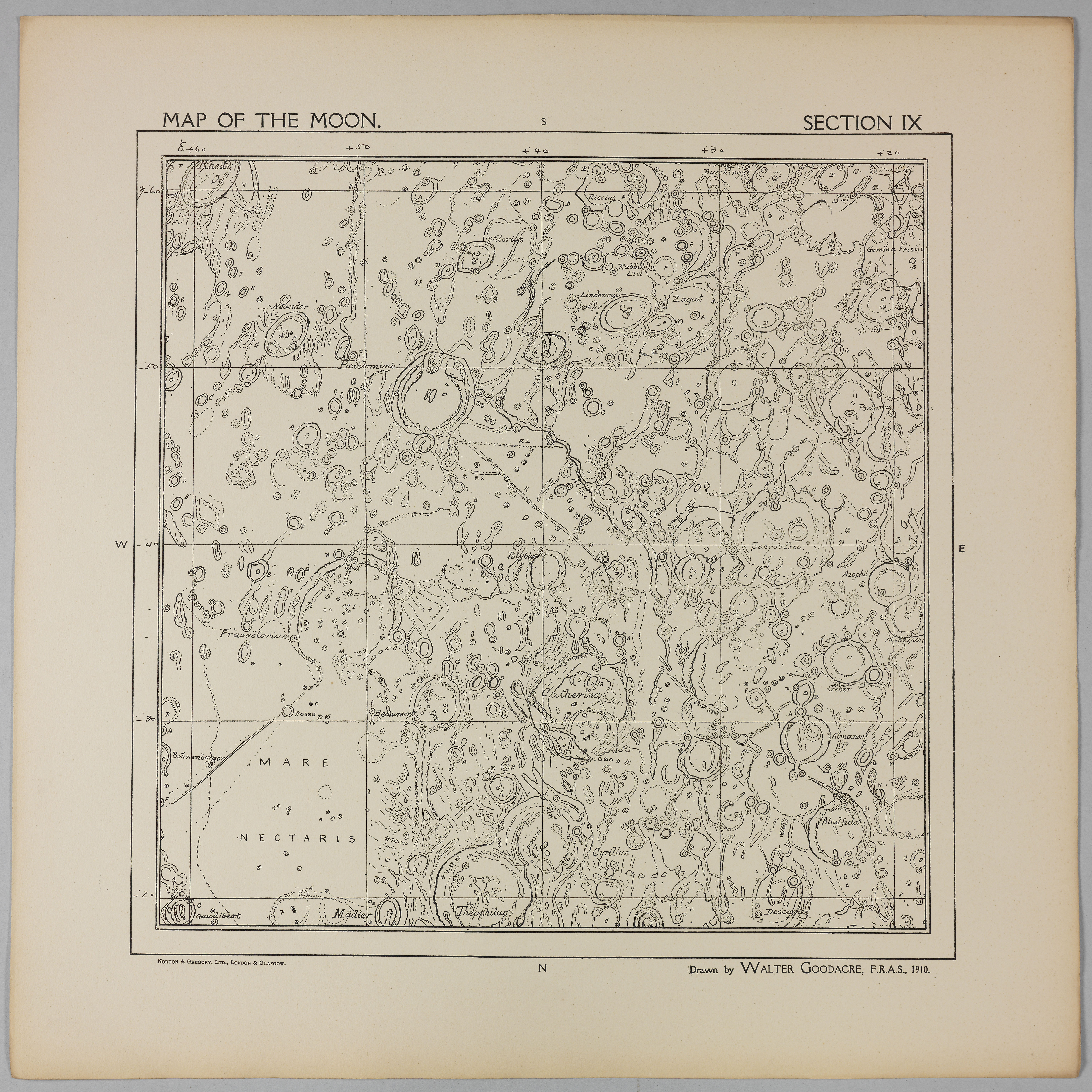 Goodacre's 1910 Map of the Moon: Section 9