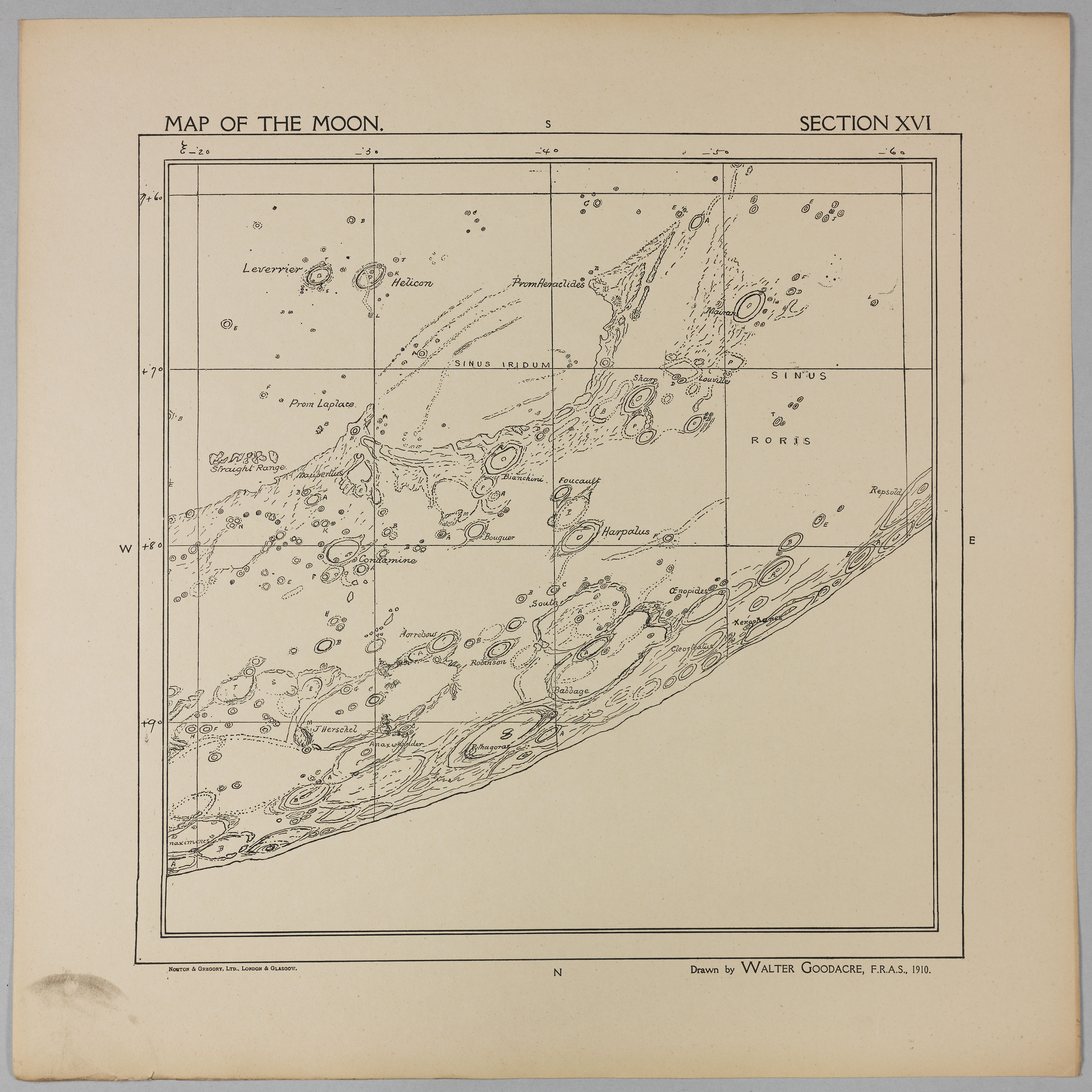 Goodacre's 1910 Map of the Moon: Section 16