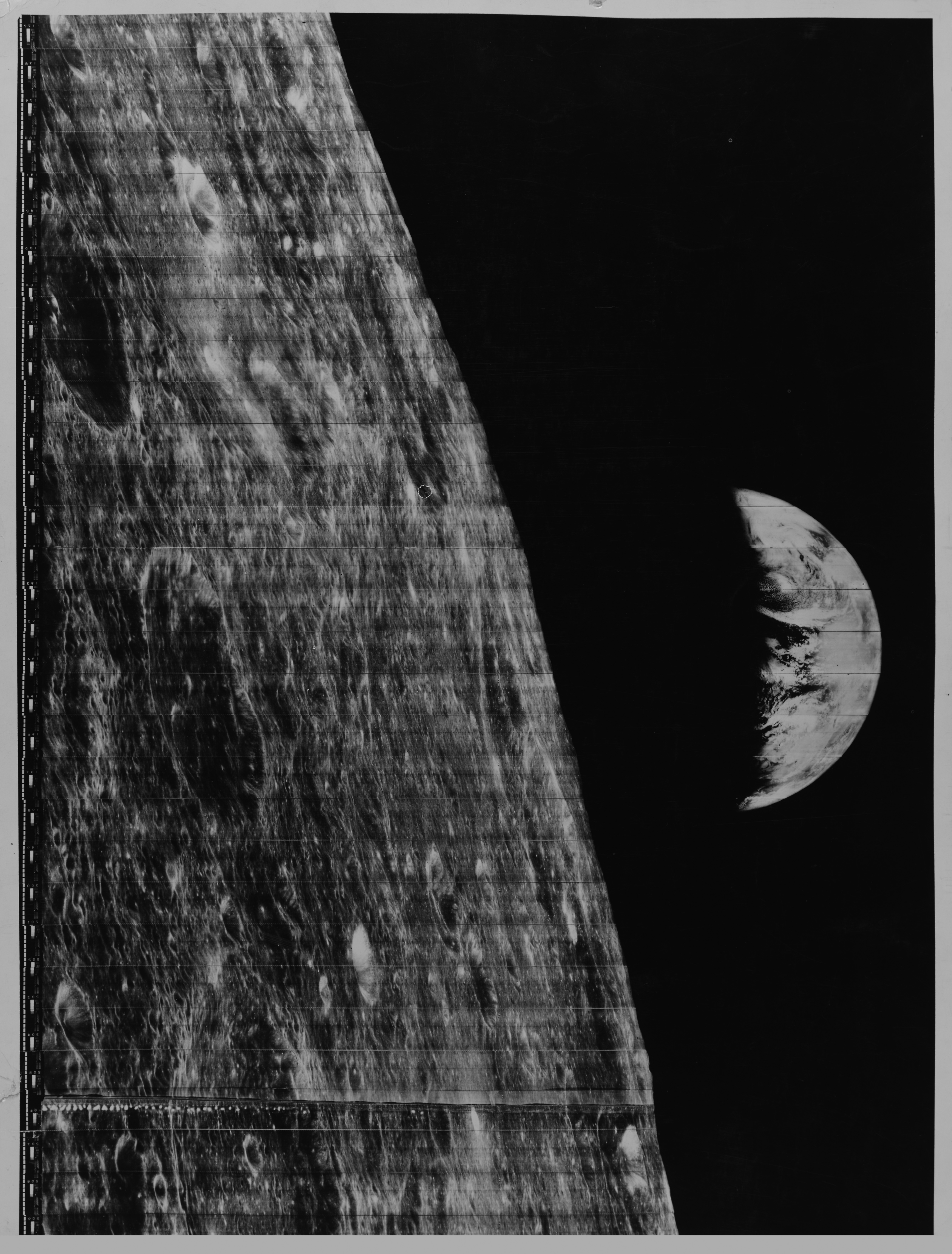 1966 Lunar Orbiter Photo of Earth and Moon