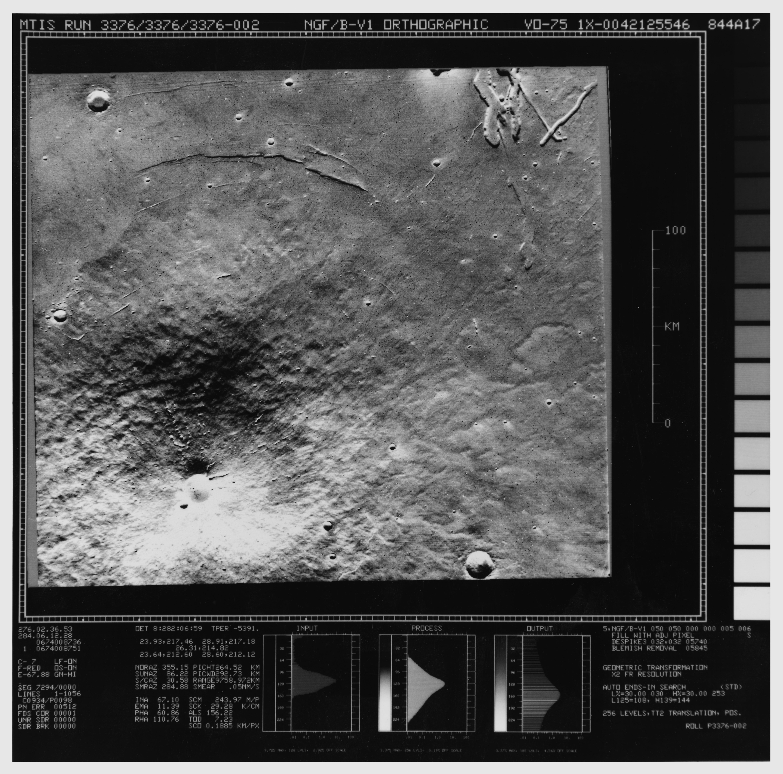 Mars in 1976: Ascraeus Mons from Viking 1 Orbiter