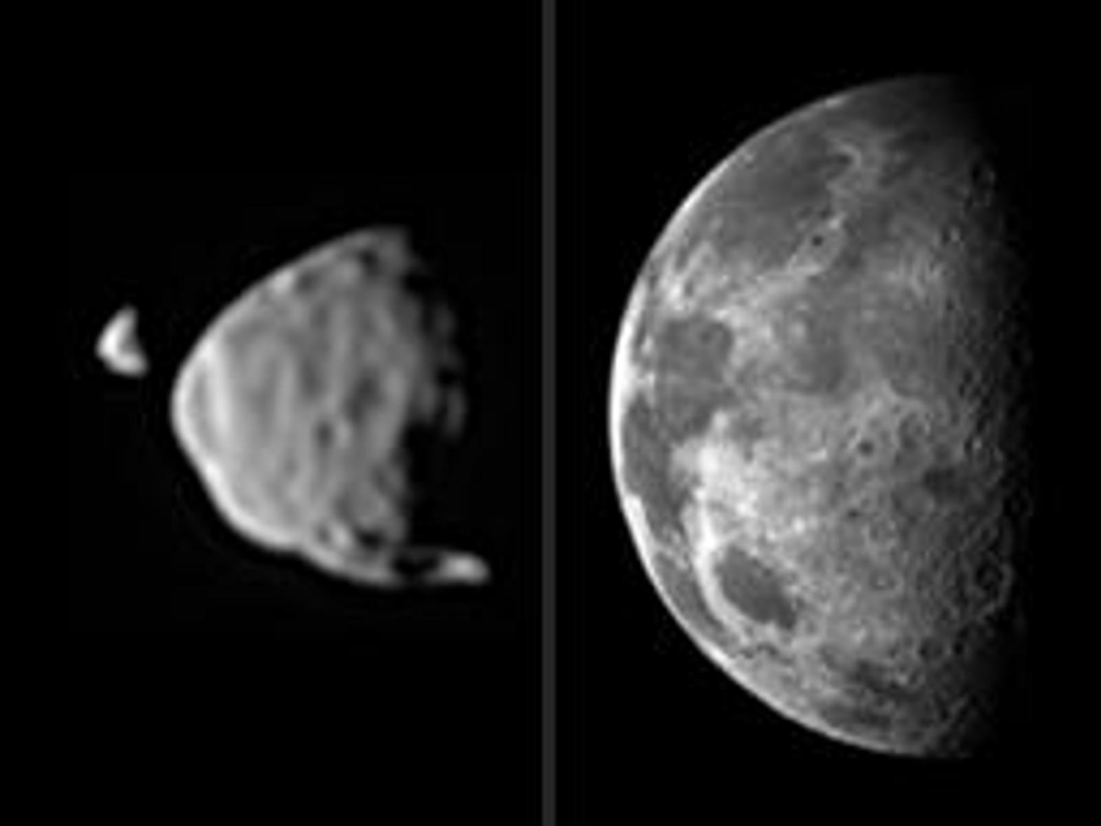 Martian Moons and Earth Moon Comparison