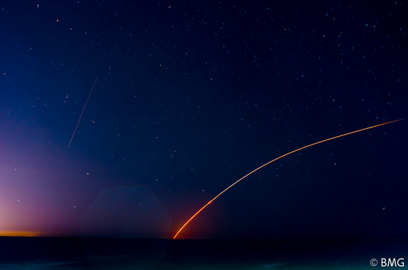Photographer Ben Gallop snapped this serene view of NASA's LADEE moon mission launch from Jennettes Pier in Nags Head, N.C., on the night of Sept. 6, 2013. The mission launched on a Minotaur V rocket from NASA's Wallops Flight Center on Wallops Island, Va.