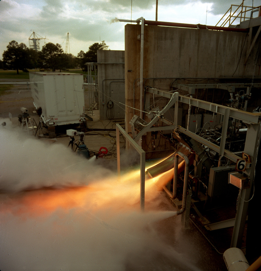 Space History Photo: Test Firing of Linear Aerospike Engine