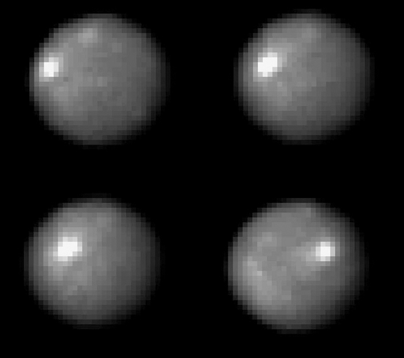 Ceres rotates about once every nine hours.