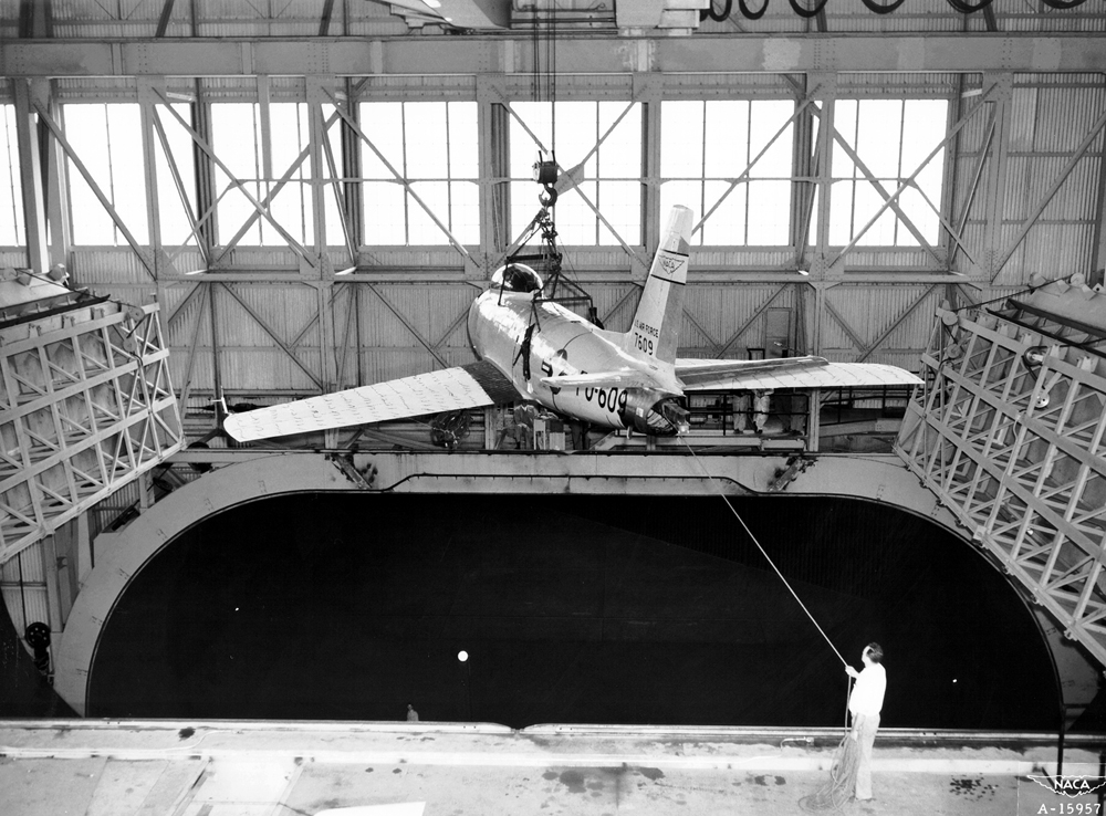 Space History Photo: F-86 Lowered into Full Scale Tunnel at Ames