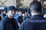 An attendee looks interested at Virgin Galactic's Career Day event on Sept. 7, 2013, at Mojave Air and Space Port in Mojave, Calif.
