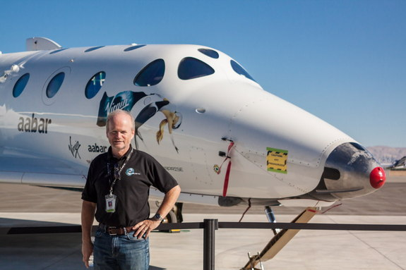 David MacKay, chief pilot of Virgin Galactic, made an appearance at the company's Career Day event on Sept. 7, 2013, at Mojave Air and Space Port in Mojave, Calif.