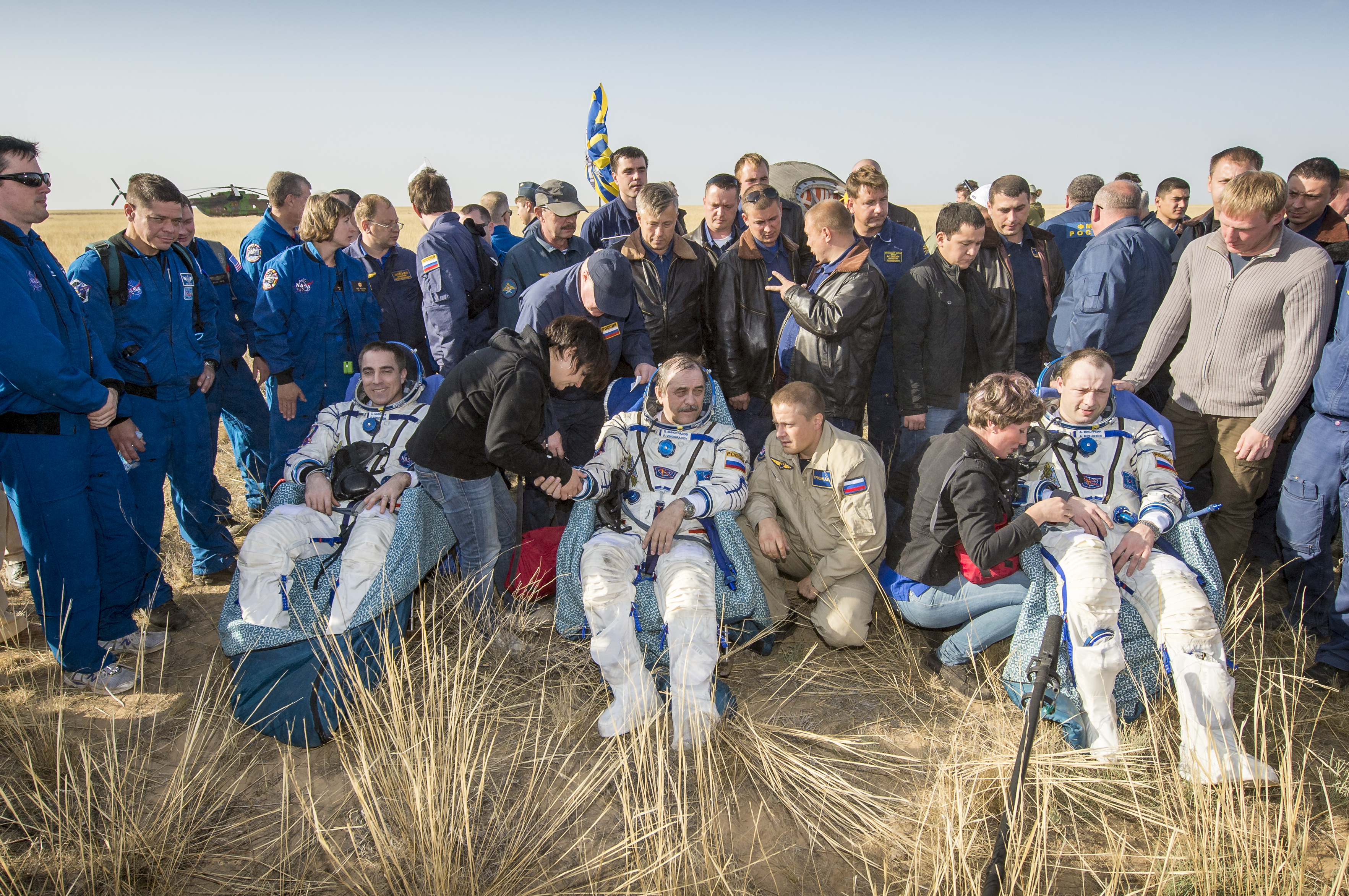 Expedition 36 Soyuz Crew Minutes After Landing