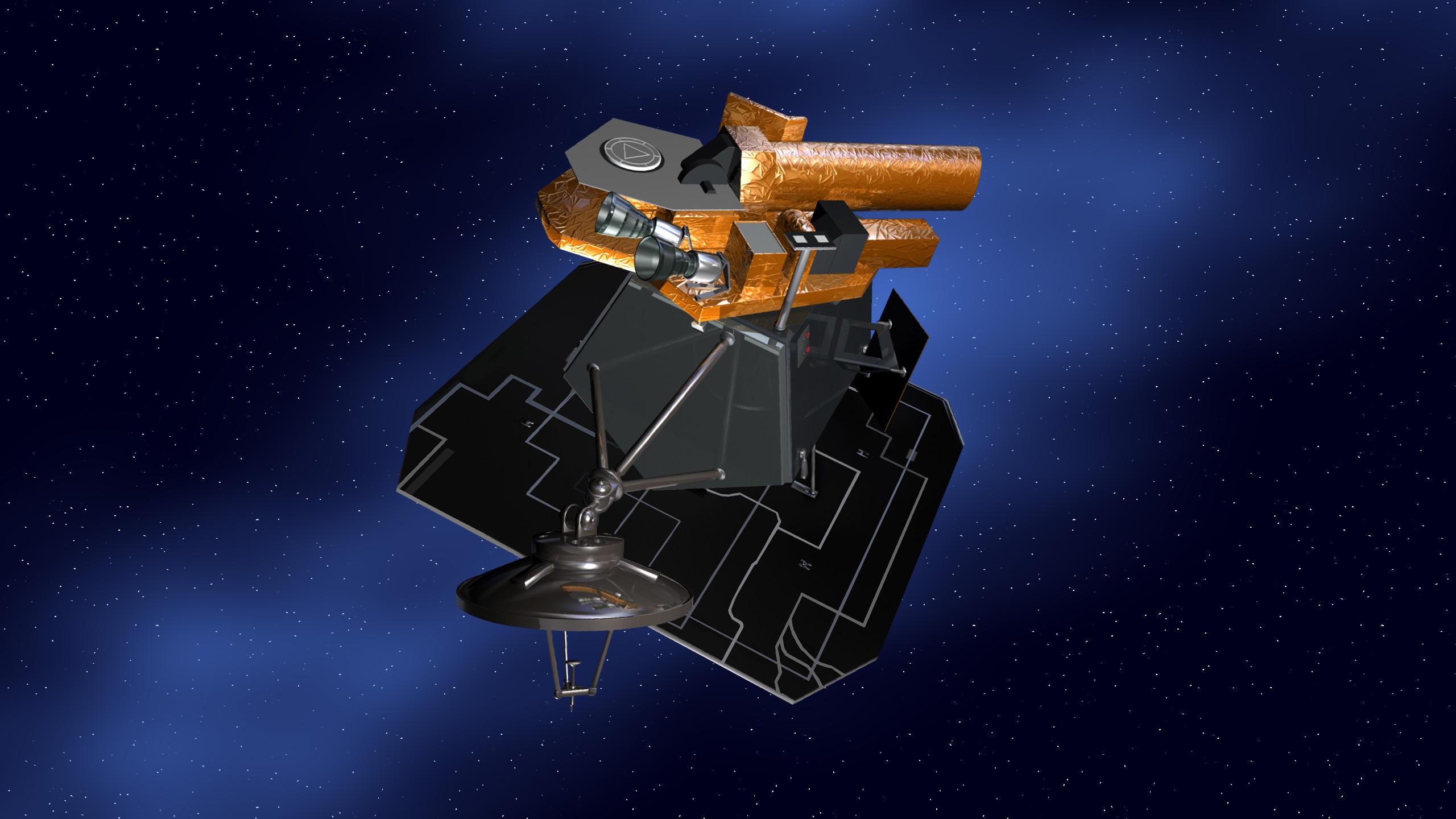 An artist's concept of NASA's Deep Impact spacecraft.