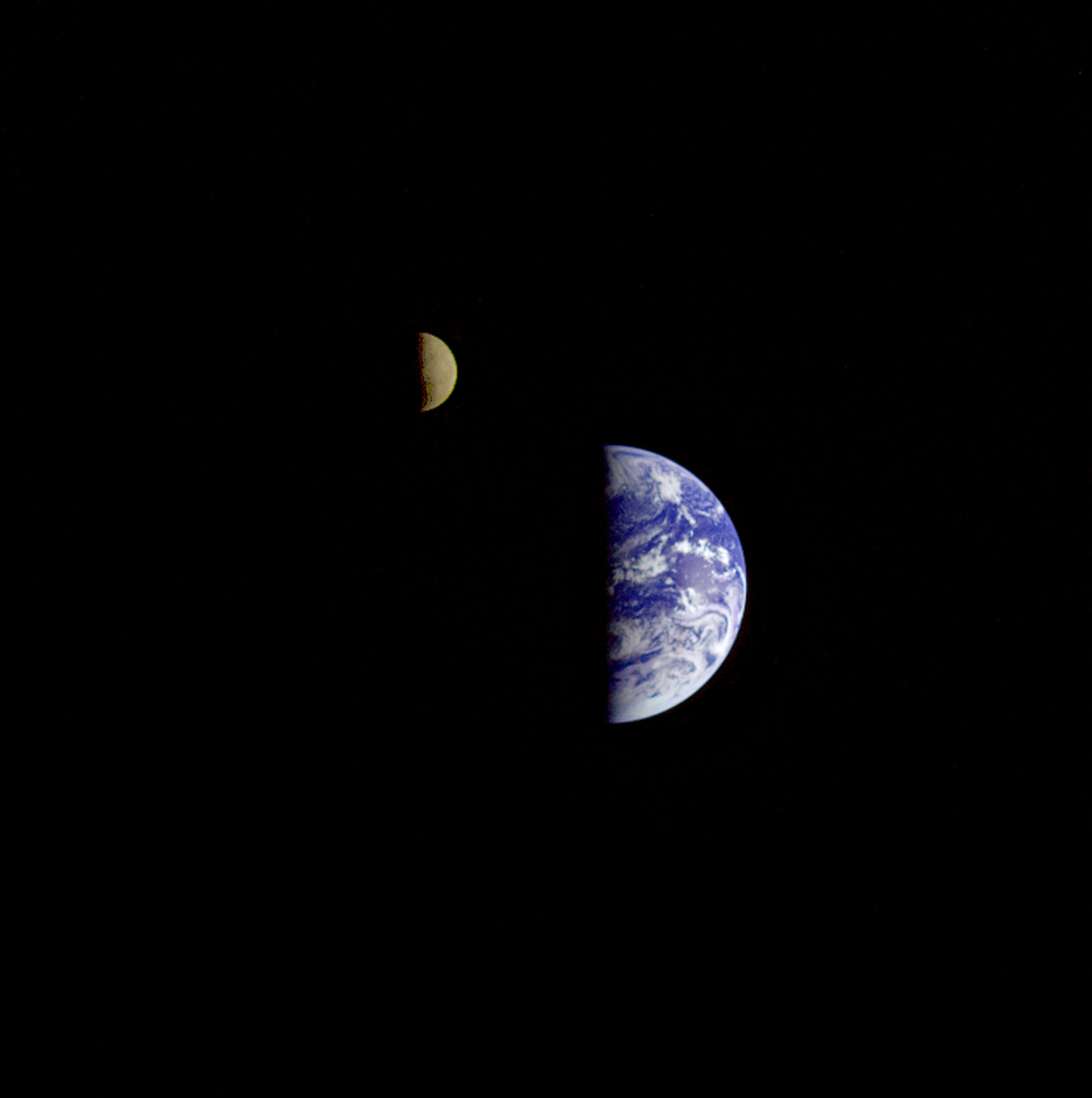 Earth and Moon from Voyager's Perspective