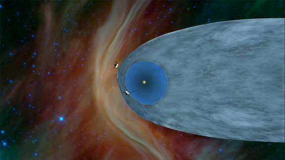This artist's concept shows the general locations of NASA's two Voyager spacecraft. Voyager 1 (top) has sailed beyond our solar bubble into interstellar space, the space between stars. Its environment still feels the solar influence. Voyager 2 (bottom) is still exploring the outer layer of the solar bubble. Image released Sept. 12, 2013.