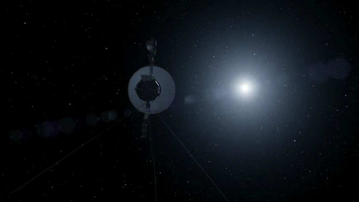 This still from a NASA video shows the Voyager 1 probe nearly 12 billion miles from the sun as it goes boldly into the final frontier of interstellar space as the farthest man-made object in human history.