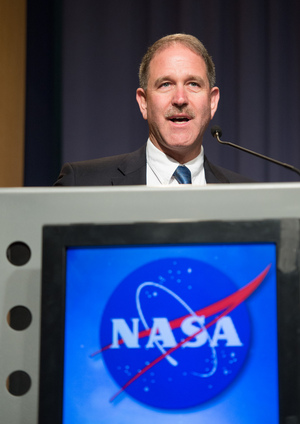 "John Grunsfeld, NASA Associate Administrator for Science in Washington, speaks  at a news conference on NASA's Voyager 1 spacecraft, Thursday, Sept. 12, 2013 in Washington. He quoted ""Star Trek"" lines to unveil that the Voyager 1 spacecraft has indeed entered interstellar space."