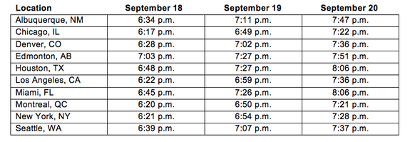 This chart shows the times of moonrise for the Harvest Moon in select cities in the United States.