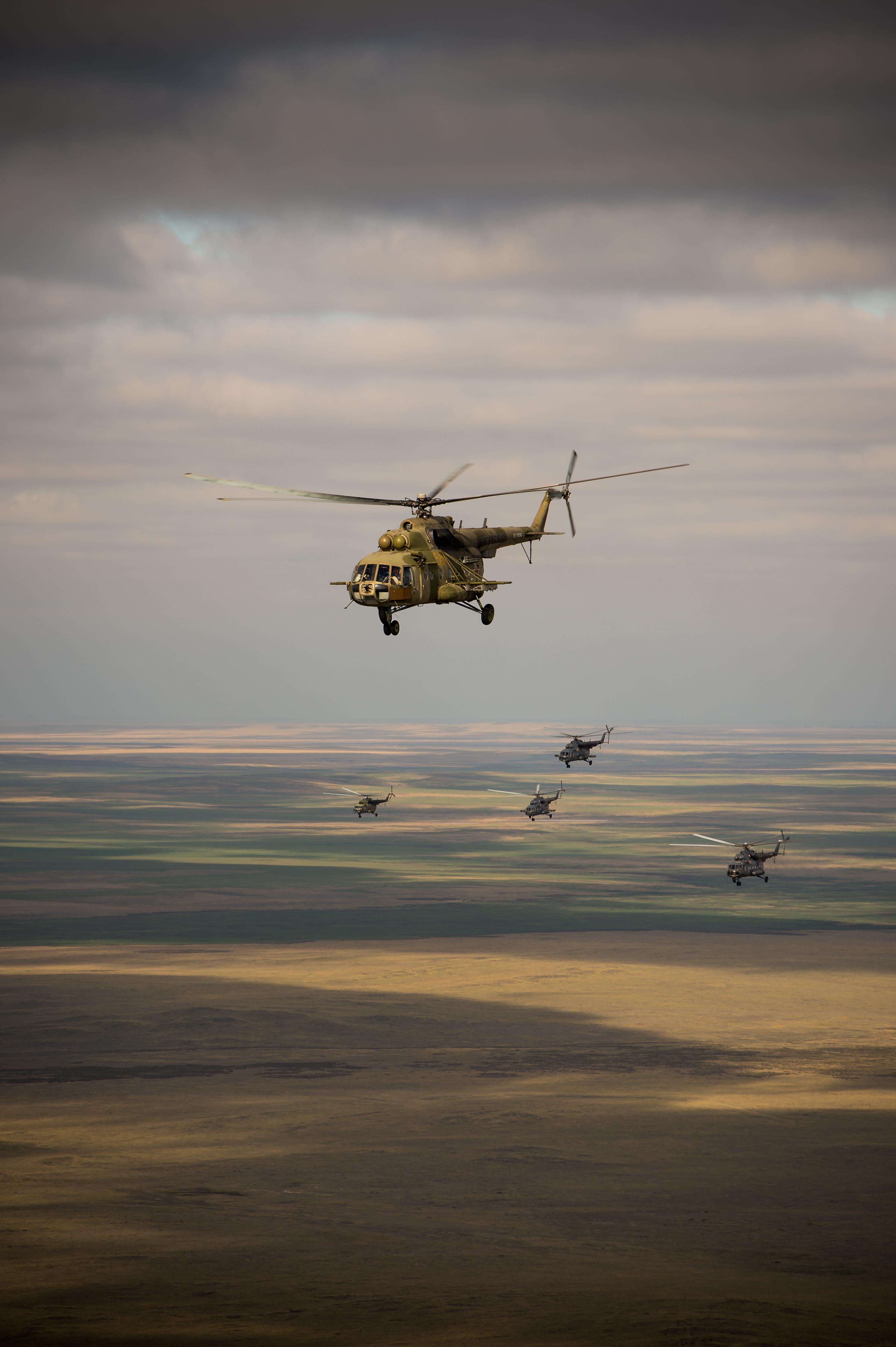 Helicopters Cruise in Soyuz Landing Prep