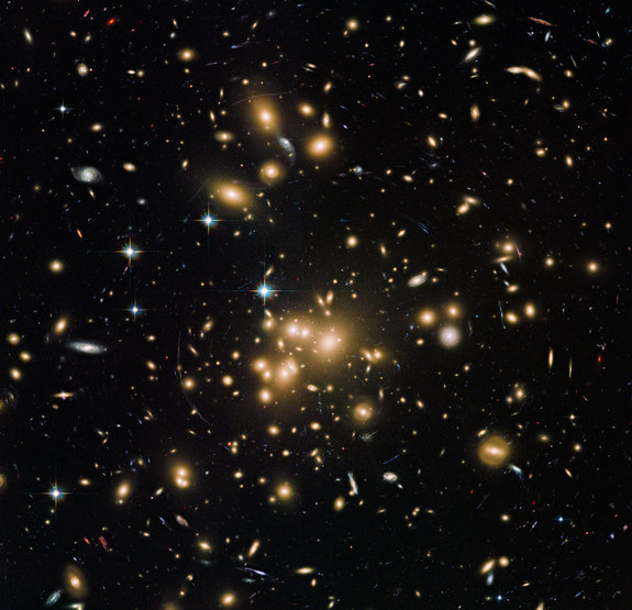 This new Hubble image shows galaxy cluster Abell 1689. It combines both visible and infrared data from Hubble's Advanced Camera for Surveys (ACS) with a combined exposure time of over 34 hours to reveal this patch of sky in greater and more striking detail than in previous observations.