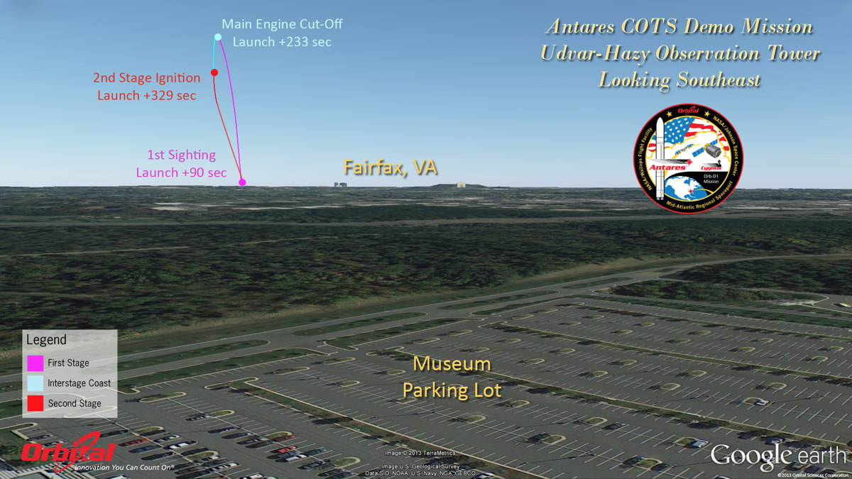 Cygnus-Antares Launch: The View from Udvar-Hazy Center Observation Tower