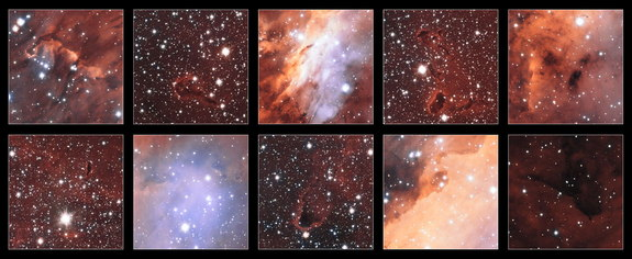 This collection of excerpts shows close-up views of some of the features in the glowing jumble of gas clouds making up a huge stellar nursery nicknamed the Prawn Nebula. Taken using the VLT Survey Telescope at ESO's Paranal Observatory in Chile, this may be the sharpest picture taken of this object. Image released Sept. 18, 2013.
