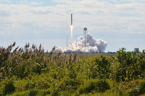 Orbital Sciences' Antares rocket lifts off with the company's first Cygnus space station resupply ship from NASA's Wallops Flight Facility in Virginia on Sept. 18, 2013.