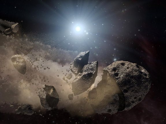 An artist's illustration of an asteroid breaking apart in space.
