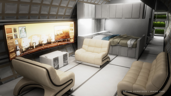 Interior view of a possible habitat on Mars by the Mars One project.