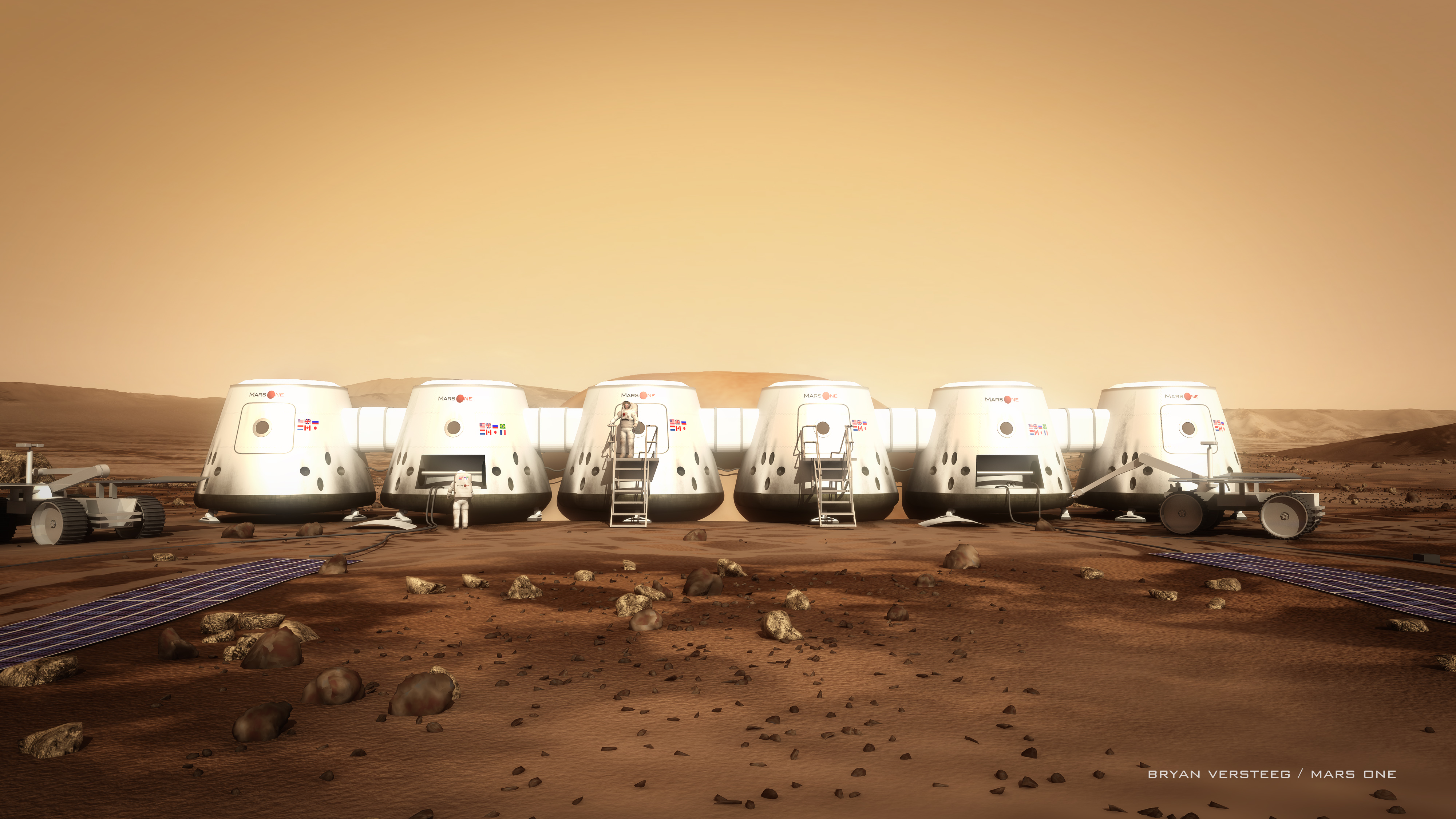 Artist's concept of Mars One astronauts and their habitat. Credit: Bryan Versteeg/Mars One