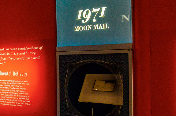 "The first envelope postmarked on the moon, the Apollo 15 ""Moon Mail,"" as seen in the ""Gems of American Philately"" exhibit in the new William H. Gross Stamp Gallery in Washington, D.C."