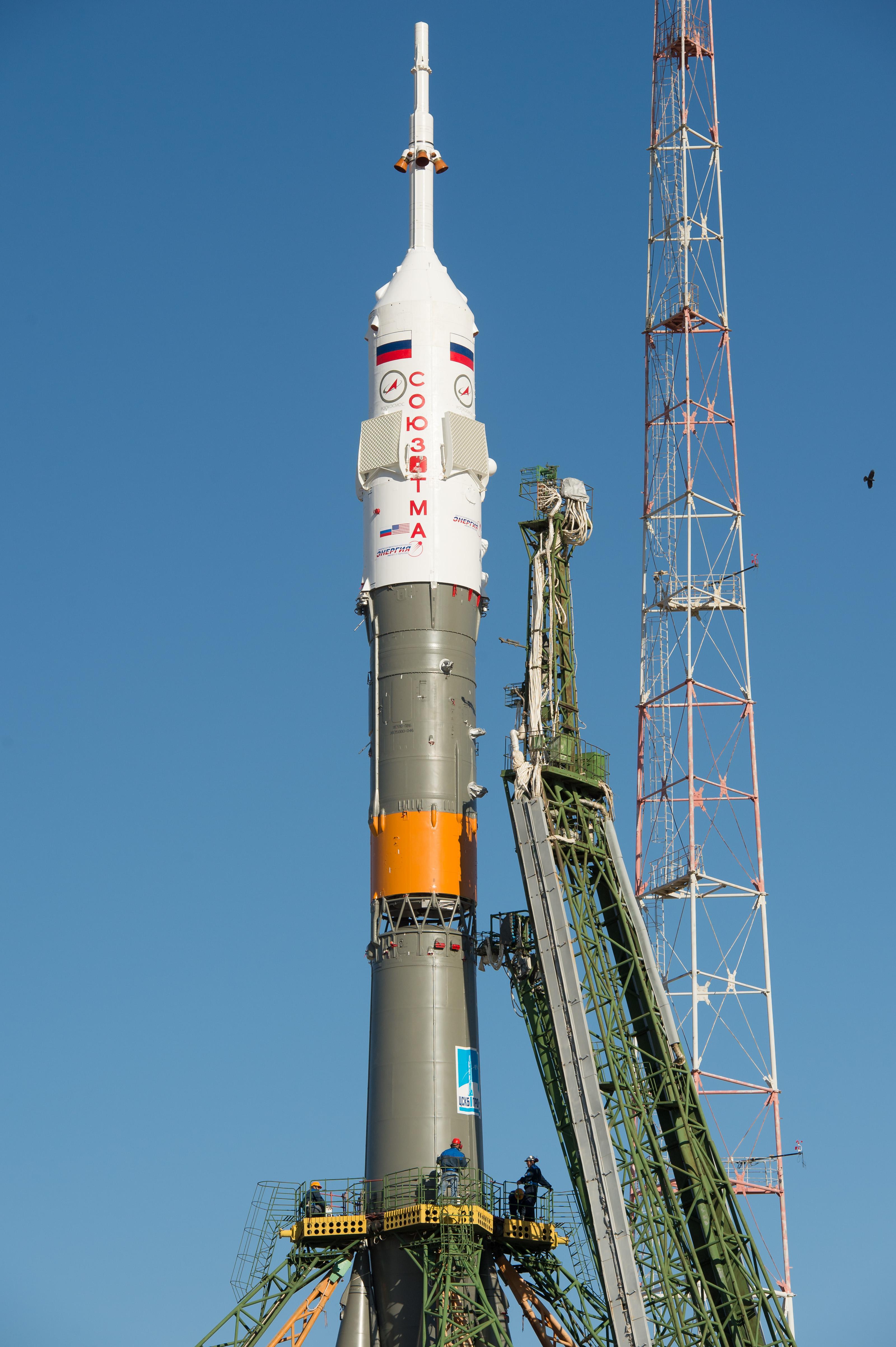 Expedition 37: Gantry Mechanisms Secure Soyuz Rocket