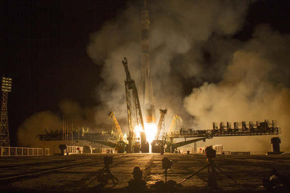 A Soyuz TMA-10M rocket launches from the Baikonur Cosmodrome in Kazakhstan at 2:58 a.m. local time on Thursday, Sept. 26, 2013 carrying Expedition 37 Soyuz Commander Oleg Kotov, NASA Flight Engineer Michael Hopkins and Russian Flight Engineer Sergey Ryazanskiy to the International Space Station.
