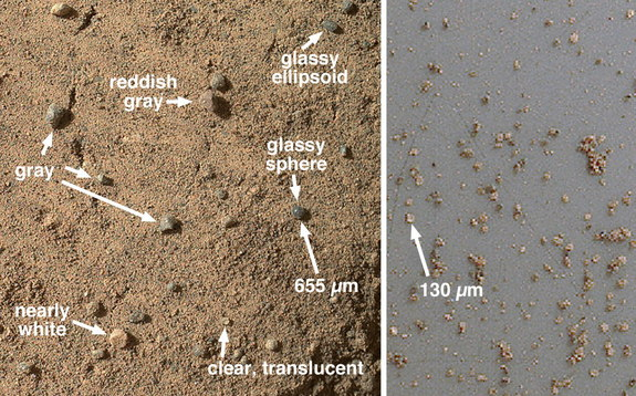 At left, a closeup view of the Mars rock target Rocknest taken by the Curiosity rover showing its sandy surface and shadows that were disrupted by the rover's front left wheel. At right, a view of Mars samples from Curiosity's third dirt scoop after it was seived. Image released Sept. 26, 2013.