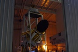 "This photo shows the Comet ISON-hunting BRRISON balloon gondola pointing out the door of the hangar for a night time pointing test, to acquire images of stars and planets with both instruments. The instrument will ride a giant NASA balloon to track Comet ISON, the potential ""comet of the century."""