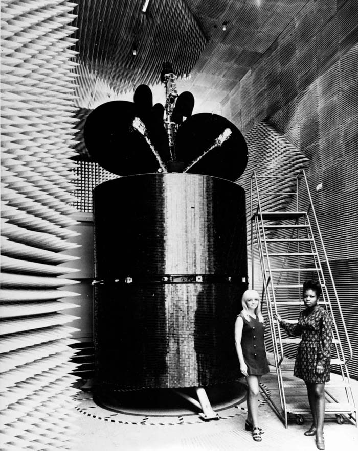 Space History Photo: Intelsat IV in an Anechoic Chamber