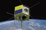 Artist's concept of the Cascade Smallsat and Ionospheric Polar Explorer (CASSIOPE) satellite.