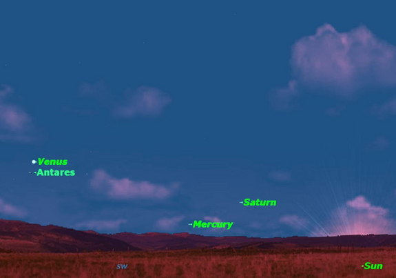 Wednesday, Oct. 16, after sunset. Look just below Venus for the red giant star Antares. If you look carefully, you may also be able to spot Mercury and Saturn.