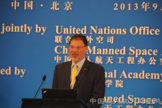 Elliot Pulham, CEO of the Space Foundation in Colorado Springs, Colo., speaks at the United Nations/China Workshop on Human Space Technology workshop in Beijing in September 2013.
