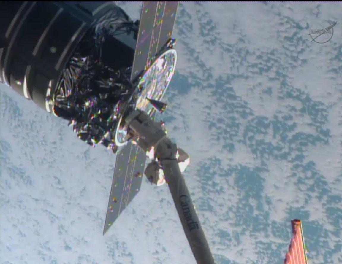 Orbital Sciences Cygnus and ISS: Closeup
