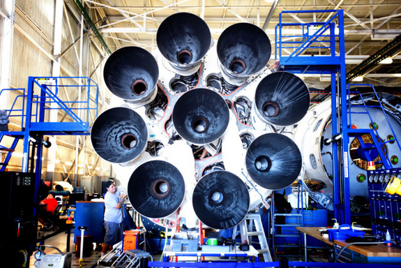 The new circular Octaweb engine arrangement of SpaceX's nine Falcon 9 Merlin 1D engines is seen in this image.