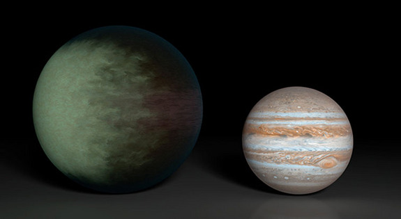 Kepler-7b is 1.5 times the radius of Jupiter, but less than half as massive. Scientists have determined that clouds lie high in the western hemisphere, while the eastern hemisphere is clear.