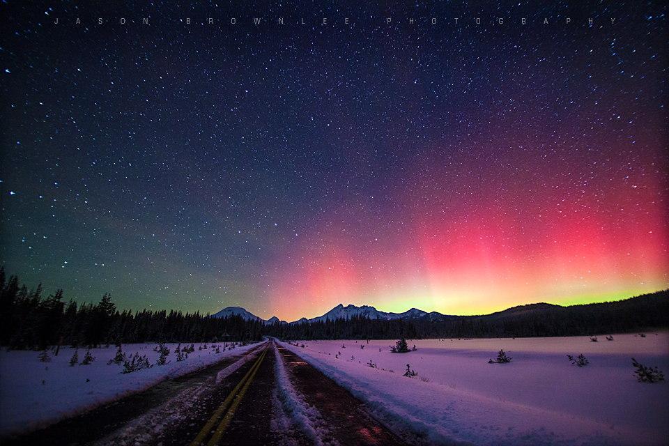 Aurora Over Oregon's Cascade Mountains