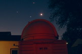 Astrophotographer John Chumack sent in a photo of Mars (red), Regulus (blue star) and the waning crescent moon in a triangle over his backyard observatory in Dayton, OH. Photo taken Oct. 1, 2013.