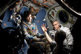 """Sandra Bullock, George Clooney and director Alfonso Cuarón on the set of the dramatic thriller """"Gravity."""""""