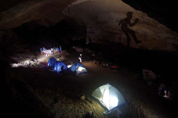 The CAVES 2013 basecamp underground in Sardinia.