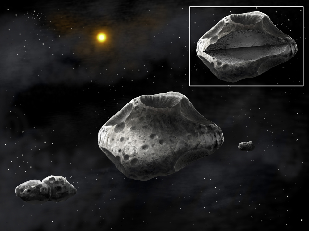Shape of Huge Asteroid with 2 Moons Revealed By SETI, Amateur Astronomers