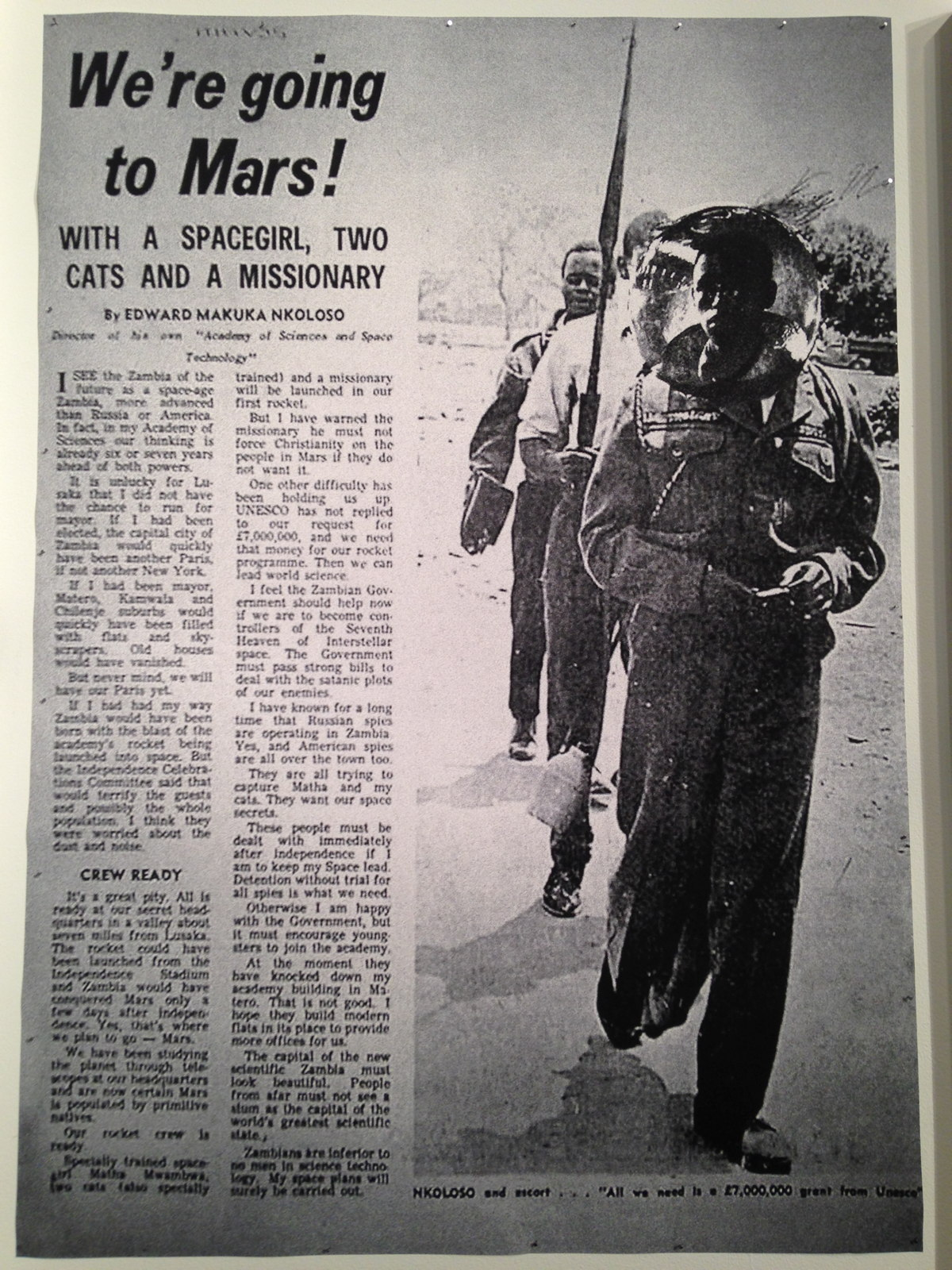 'The Afronauts' Newspaper Article