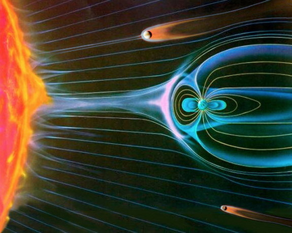 An artist's impression of the magnetic fields of Venus, Earth and Mars interacting with charged particles streaming from the sun. Earth's magnetic field protects it from these atmosphere-stripping particles.