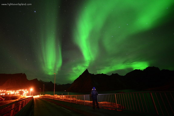 Astrophotographer Chad Blakley sent in a photo of an aurora display seen over a small fishing village on the Lofoten archipelago of Norway. Image taken Oct. 8, 2013.