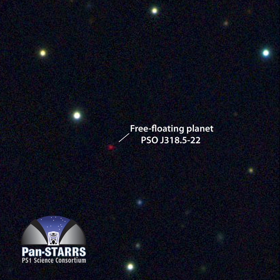This multicolor image from the Pan-STARRS 1 telescope in Hawaii shows the free-floating planet PSO J318.5-22 in the constellation Capricornus. The planet is extremely cold and faint, about 100 billion times fainter in optical light than the planet Venus.